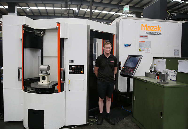 Brendan Brown Harrops Manufacturing Engineer with their Mazak Variaxis i 700 and Multi Pallet Pool